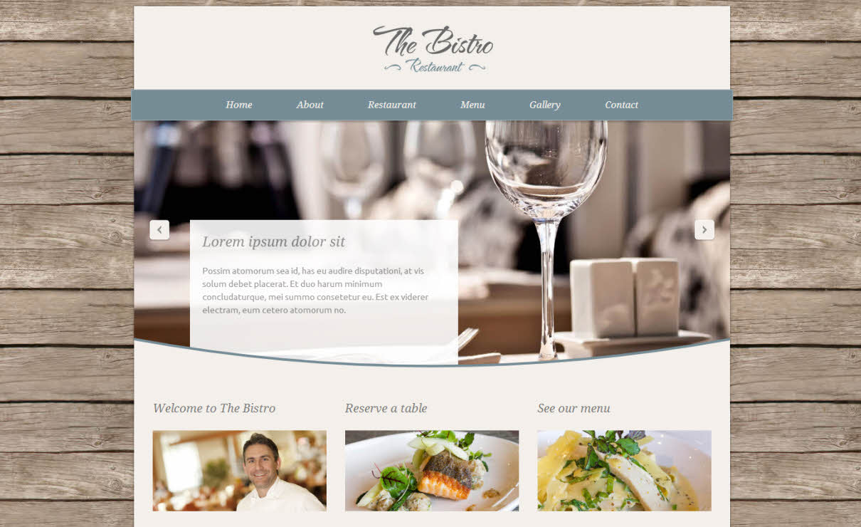 The Bistro Template | Serif WebPlus Templates