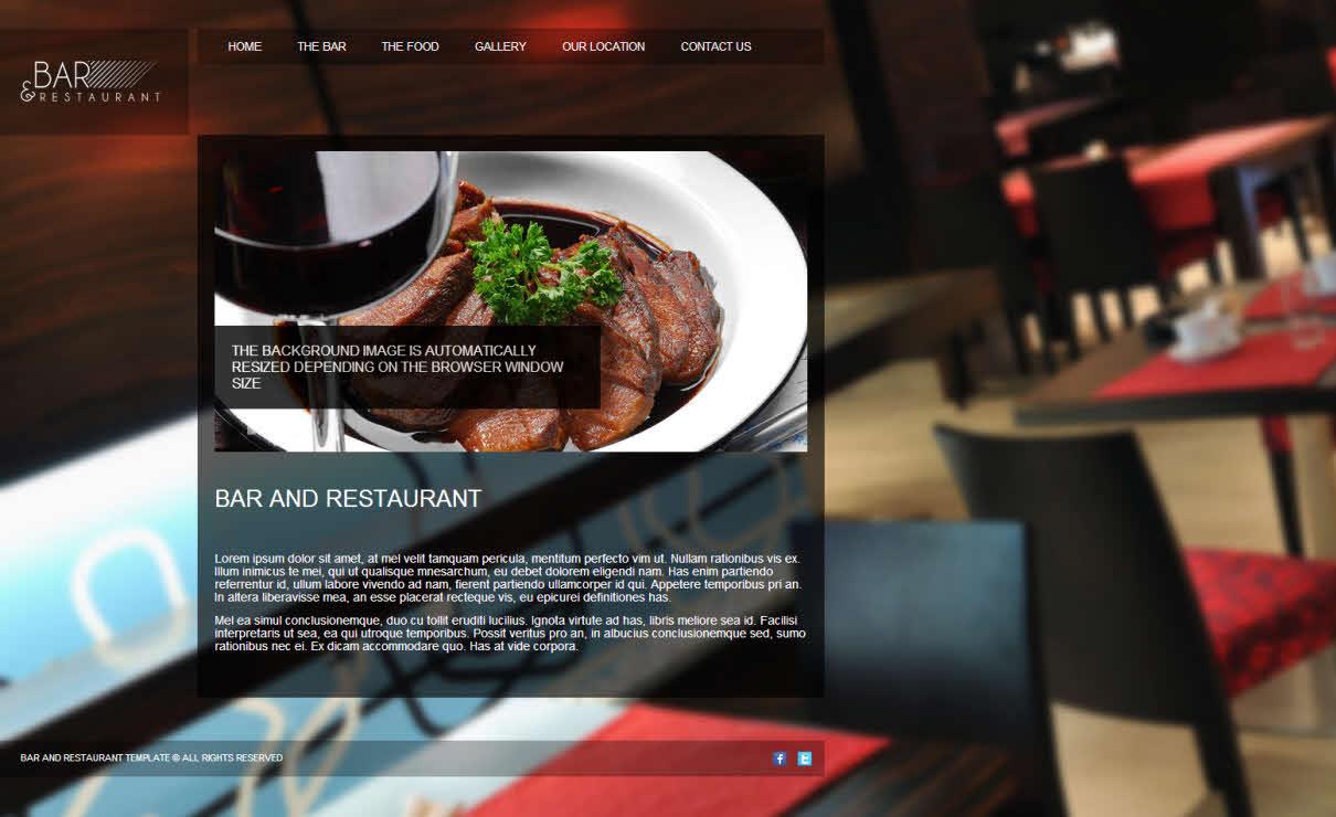 Bar & Restaurant   Serif WebPlus Templates